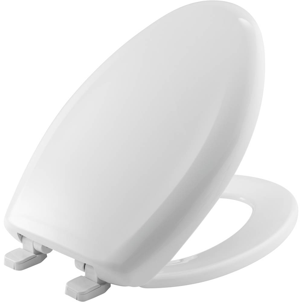 Church Elongated Plastic Toilet Seat in White with Top-Tite Hinge