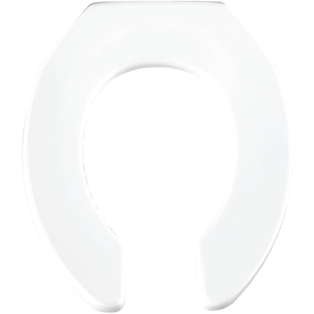 Church Round Open Front Less Cover Commercial Plastic Toilet Seat in White with STA-TITE Commercial Fastening System Self-Sustaining Check Hinge