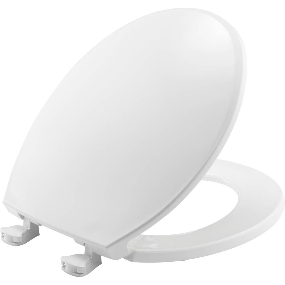 Church Round Plastic Toilet Seat in White with Easy-Clean & Change Hinge