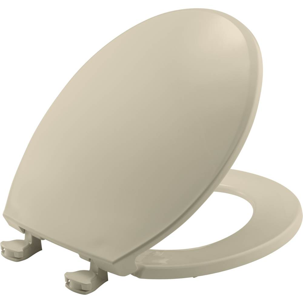 Church Round Plastic Toilet Seat in Bone with Easy-Clean & Change Hinge