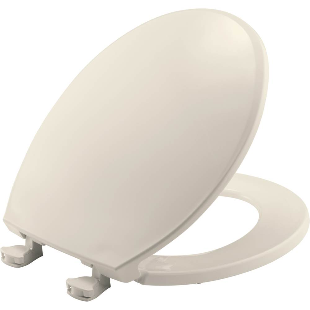 Church Round Plastic Toilet Seat in Biscuit with Easy-Clean & Change Hinge