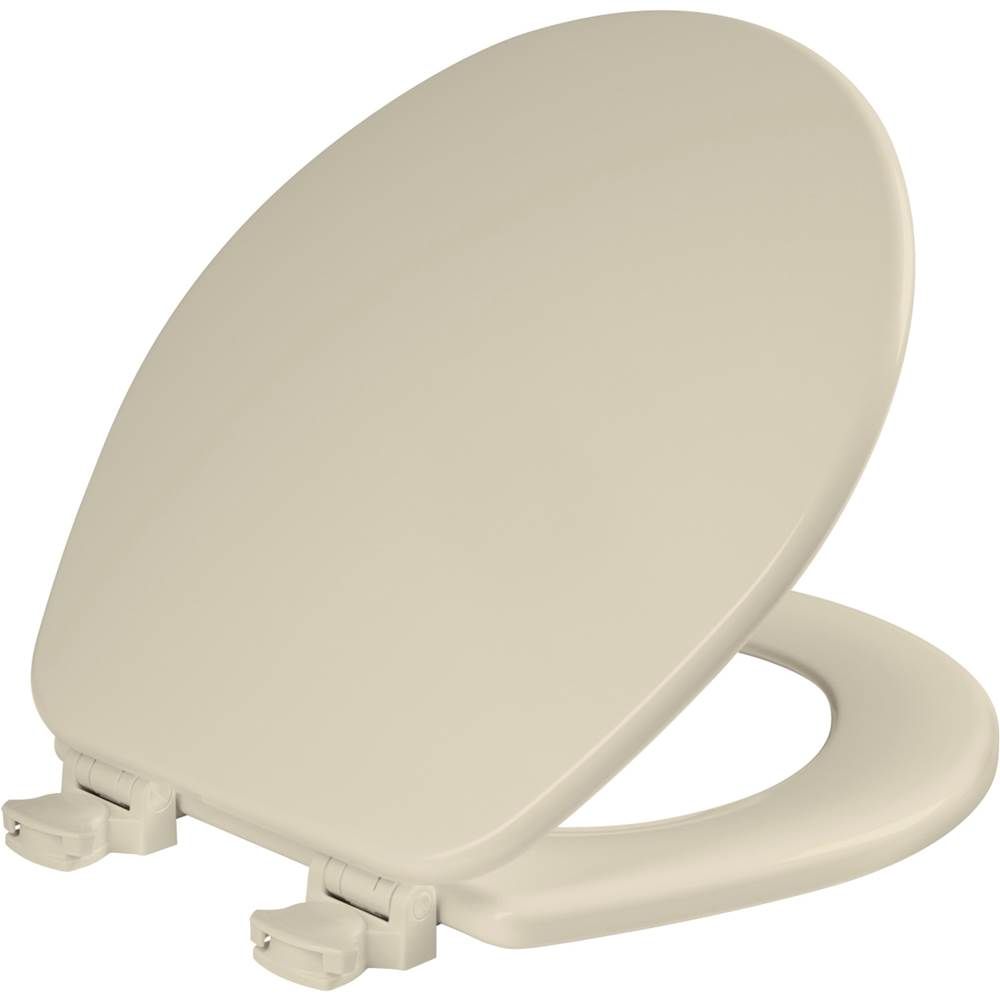 Church Round Enameled Wood Toilet Seat in Almond with Easy-Clean & Change Hinge