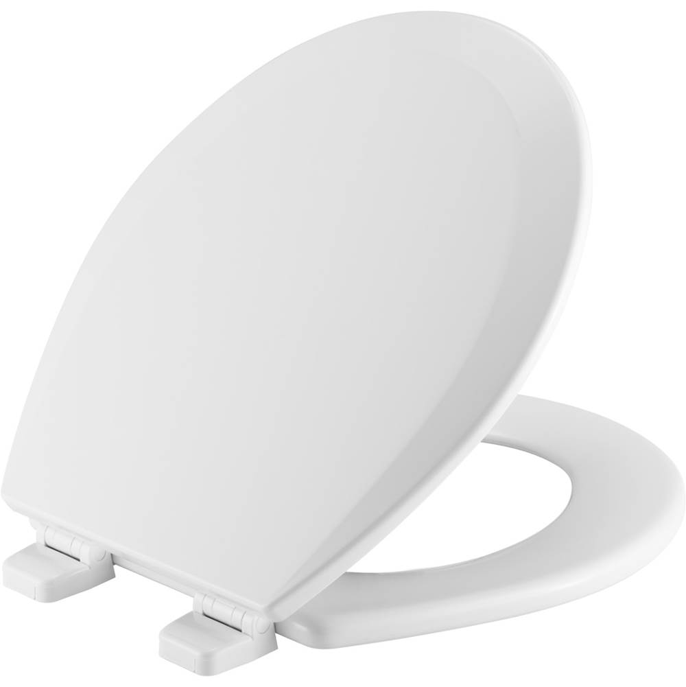 Church Round Enameled Wood Toilet Seat in White with Top-Tite STA-TITE Seat Fastening System and Precision Seat Fit Adjustable Hinge