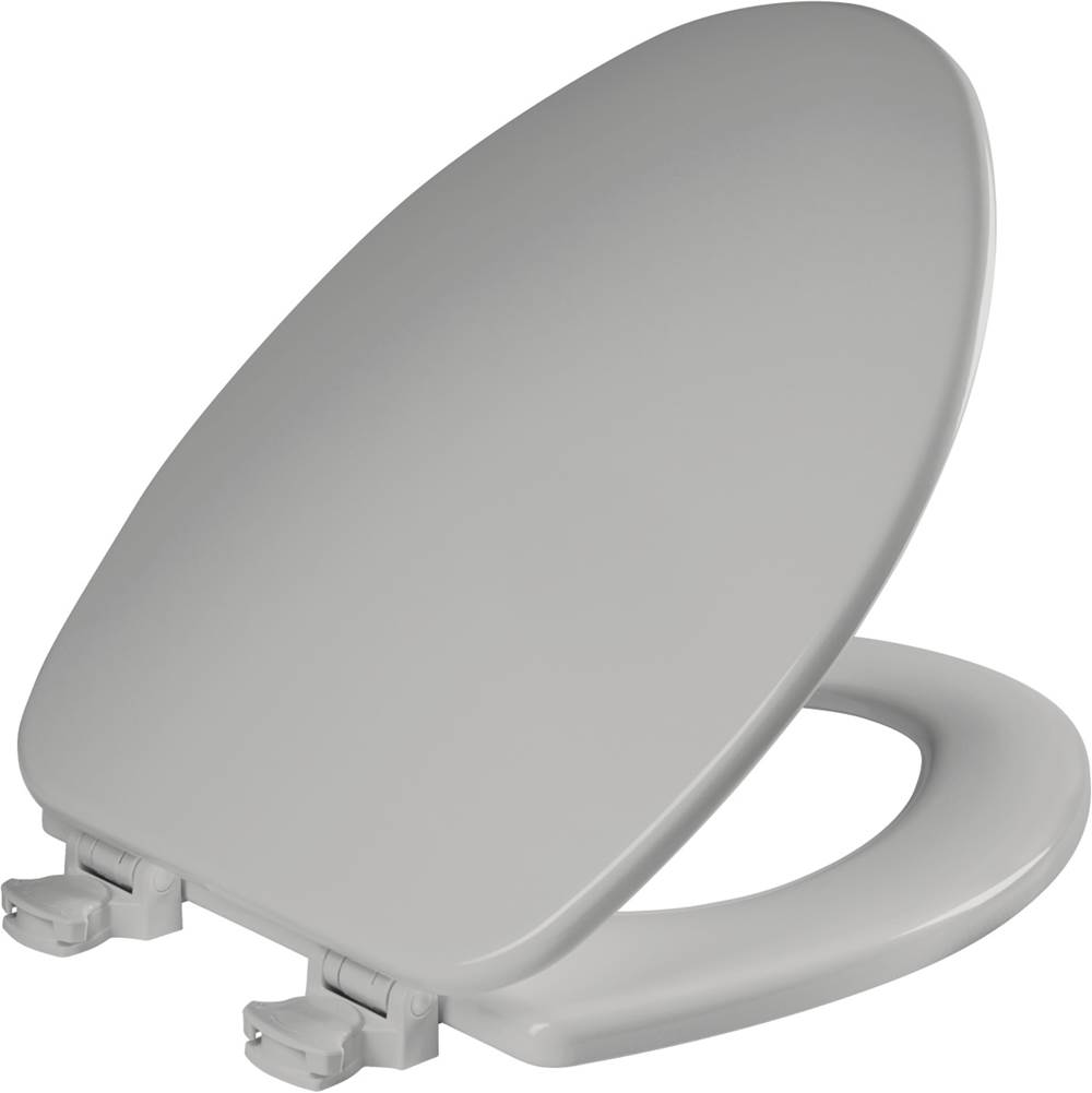 Church Elongated Enameled Wood Toilet Seat in Silver with Easy-Clean & Change Hinge