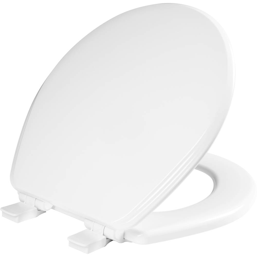 Church Ashland Round Enameled Wood Toilet Seat in White with STA-TITE Seat Fastening System, Easy-Clean and Whisper-Close
