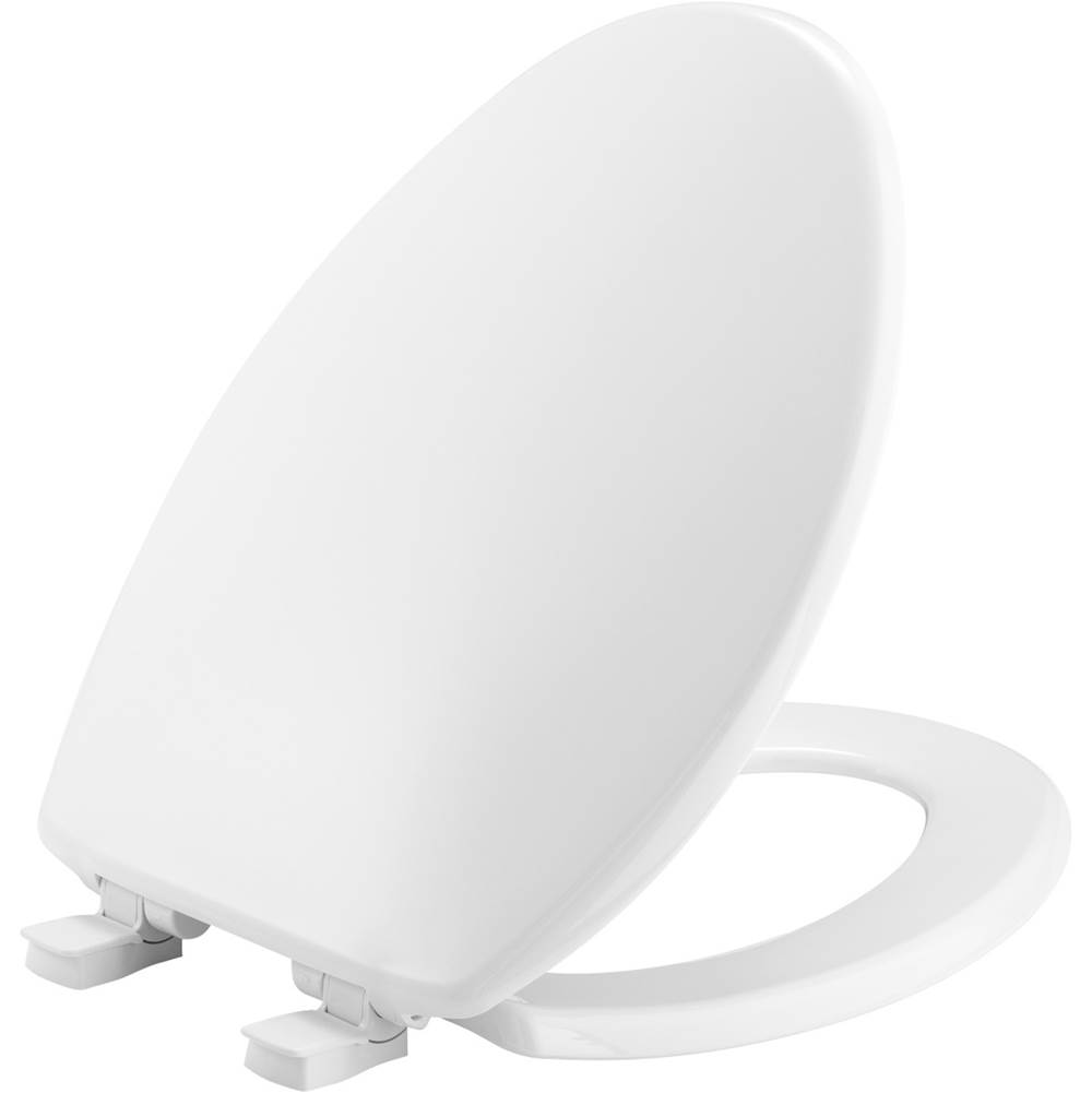 Church Elongated Plastic Toilet Seat in White with Easy-Clean & Change and Whisper-Close Hinge