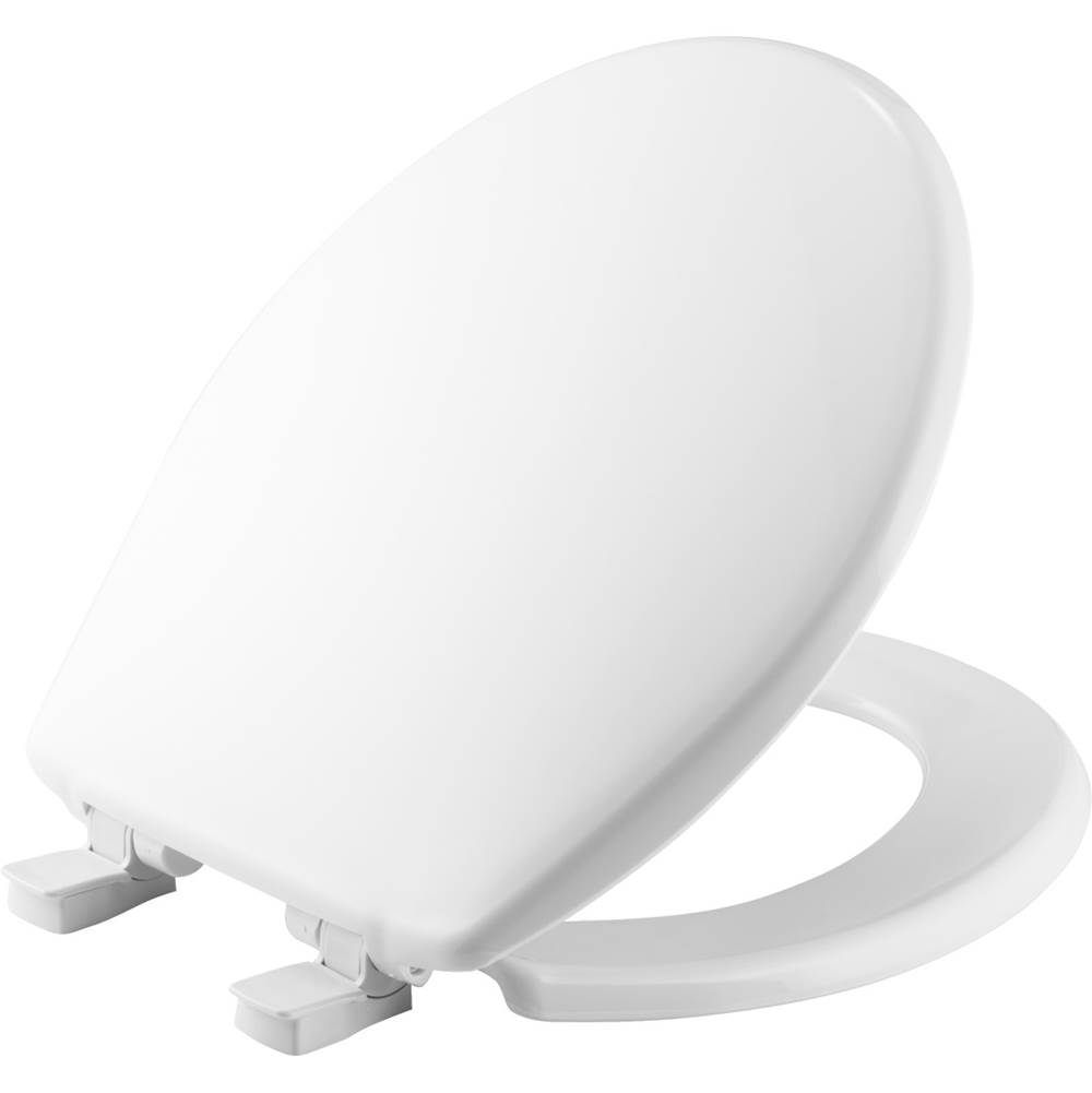 Church Round Plastic Toilet Seat in White with Easy-Clean & Change and Whisper-Close Hinge
