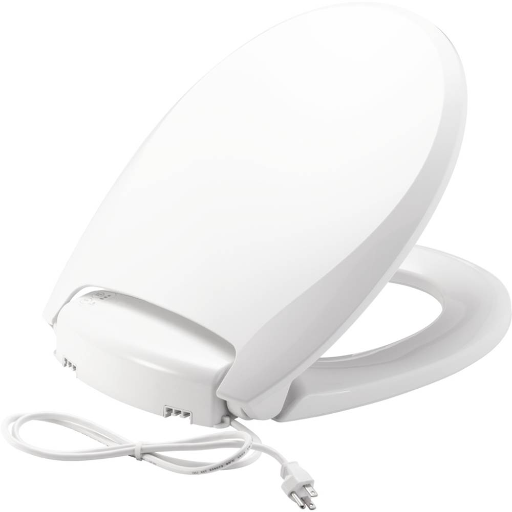 Church Radiance Round Plastic Toilet Seat in White with Adjustable Heat, iLumalight, STA-TITE Seat Fastening System and Whisper-Close
