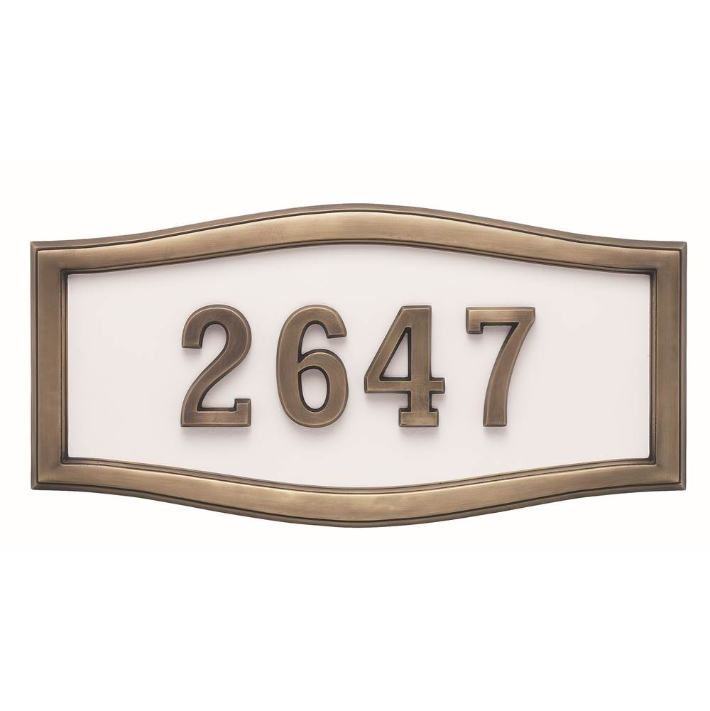 Gaines Manufacturing HouseMark Address Plaque Large Roundtangle White w/ Antique Bronze