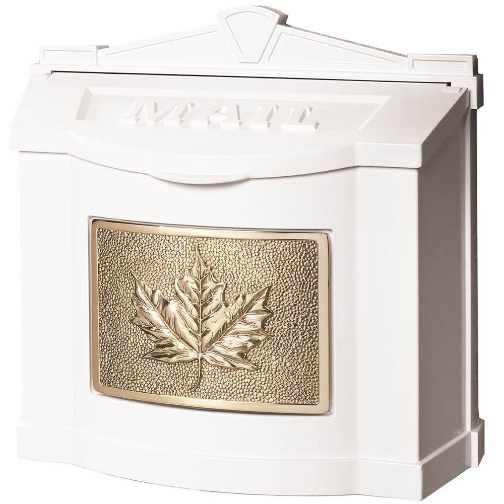 Gaines Manufacturing Wallmount Mailbox Leaf Design All White Leaf