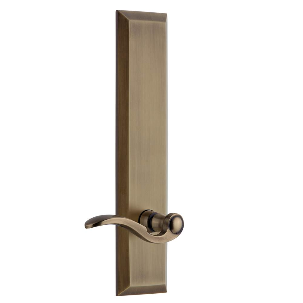 Grandeur Hardware Grandeur Hardware Fifth Avenue Tall Plate Passage with Bellagio Lever in Vintage Brass
