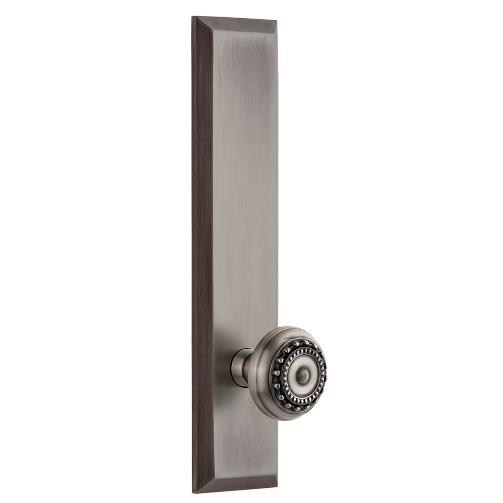 Grandeur Hardware Grandeur Hardware Fifth Avenue Tall Plate Privacy with Parthenon Knob in Antique Pewter