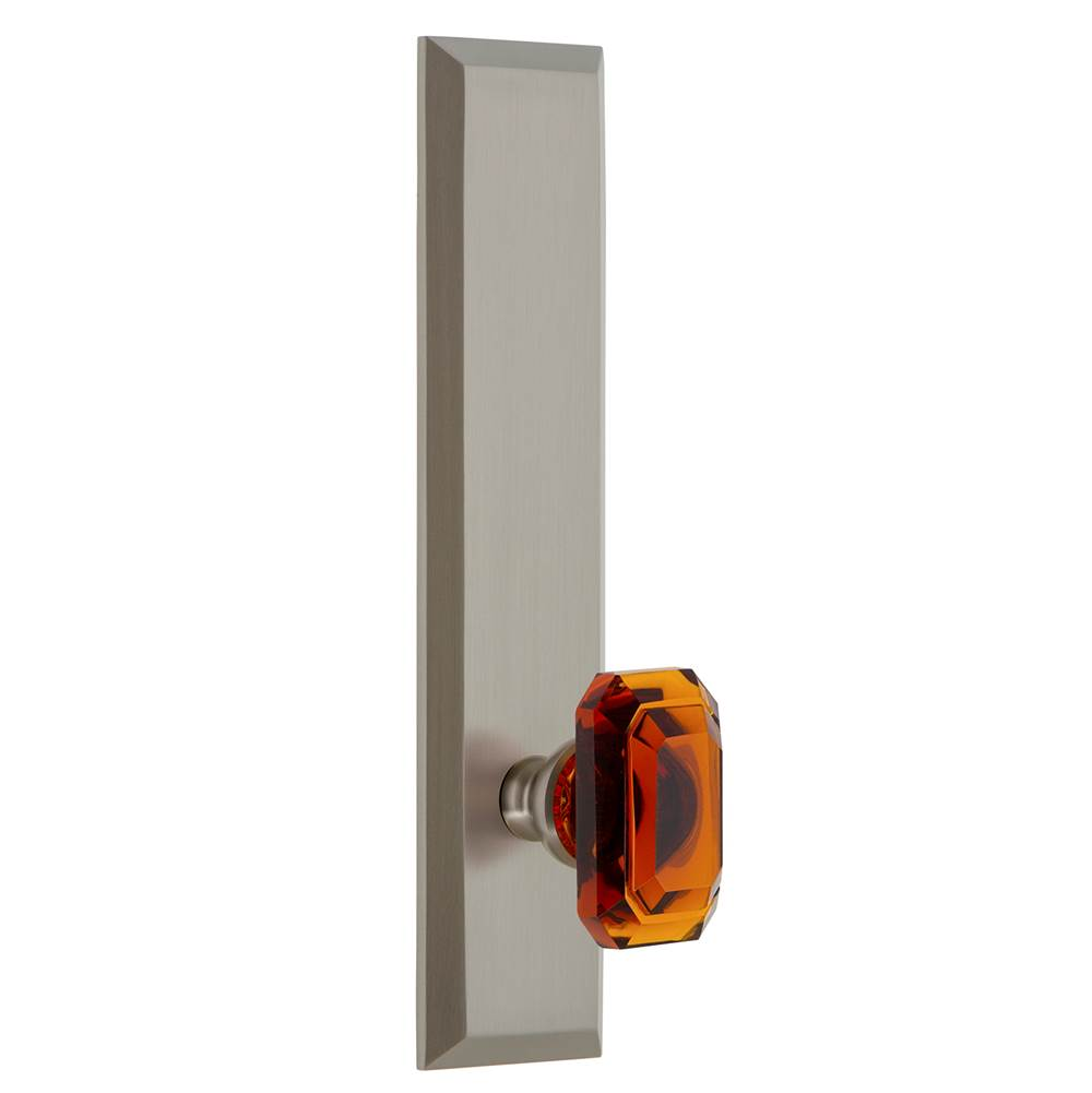 Grandeur Hardware Grandeur Hardware Fifth Avenue Tall Plate Double Dummy with Baguette Amber Knob in Satin Nickel