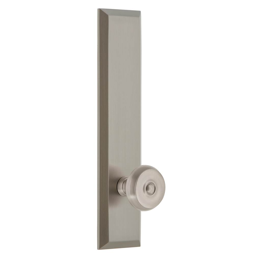 Grandeur Hardware Grandeur Hardware Fifth Avenue Tall Plate Privacy with Bouton Knob in Satin Nickel