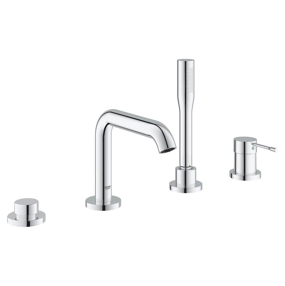 Grohe 4-Hole Single-Handle Deck Mount Roman Tub Faucet with 1.75 GPM Hand Shower