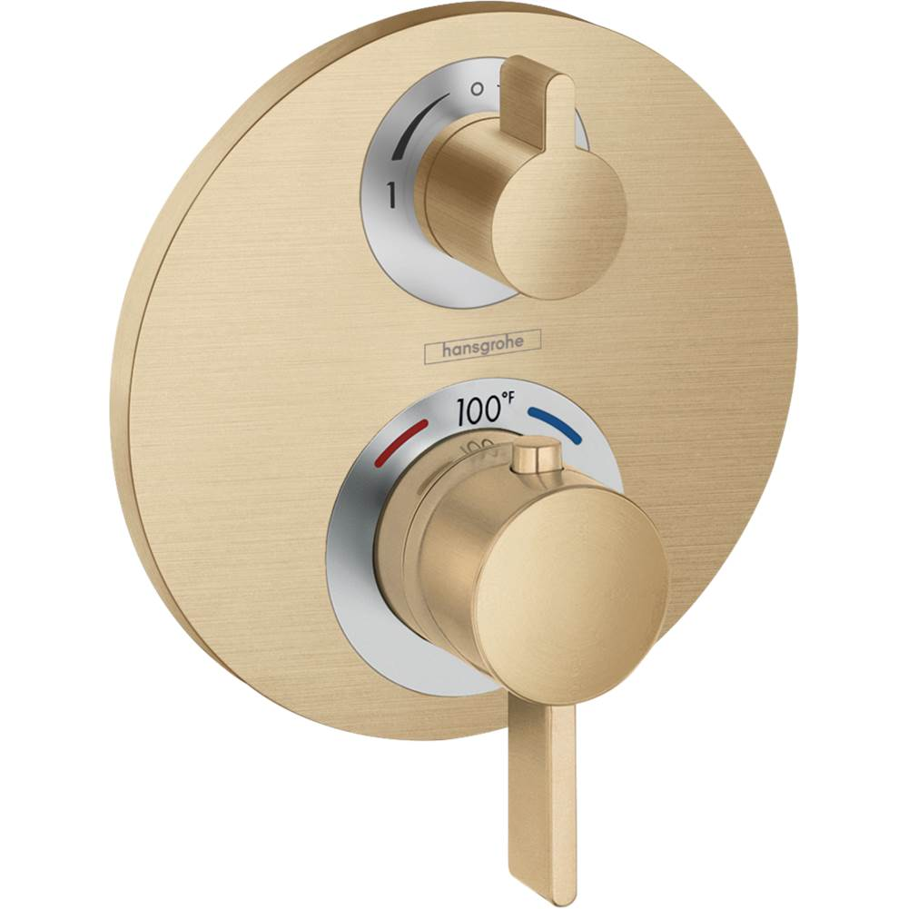 Hansgrohe Ecostat S Thermostatic Trim With Volume Control And Diverter In Brushed Bronze
