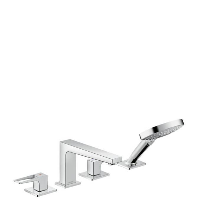 Hansgrohe Metropol 4-Hole Roman Tub Set Trim With Loop Handles And 1.75 Gpm Handshower In Chrome