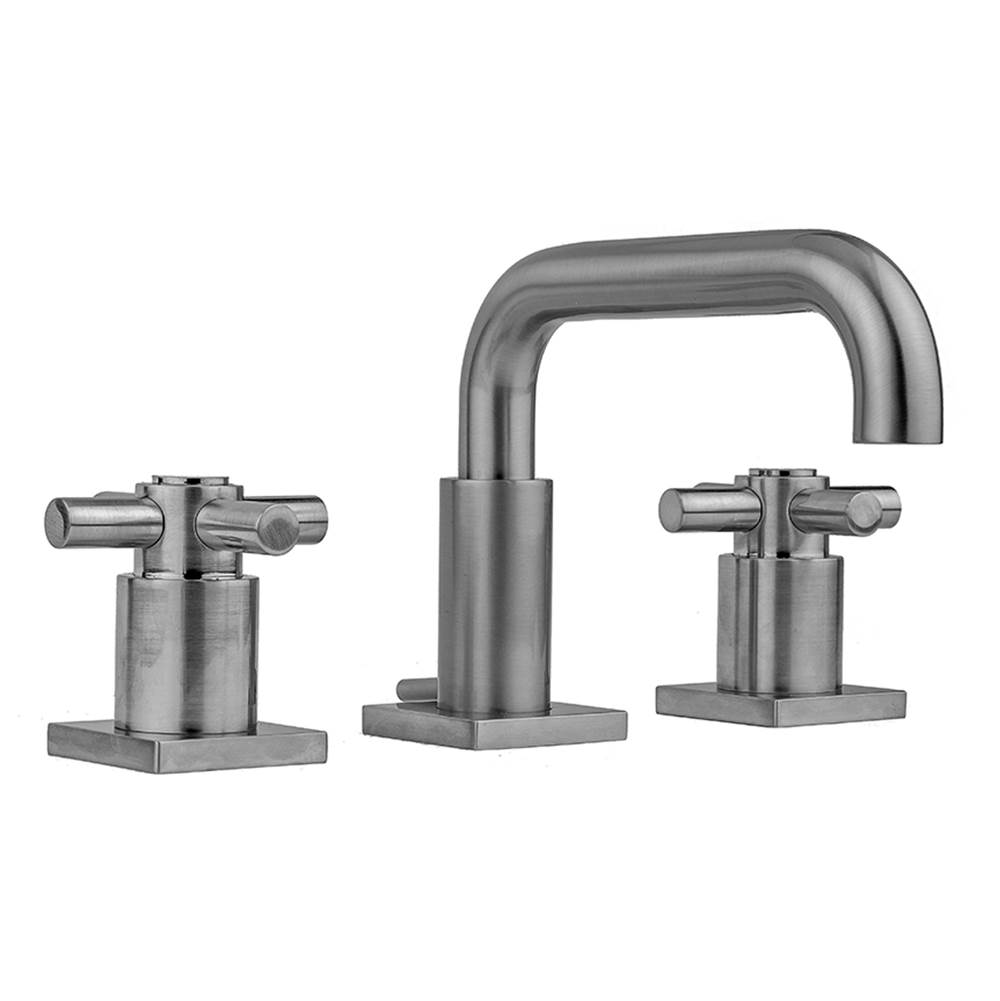 Jaclo Downtown Contempo Faucet with Square Escutcheons and Contempo Cross Handles and Fully Polished and Plated Pop-Up Drain