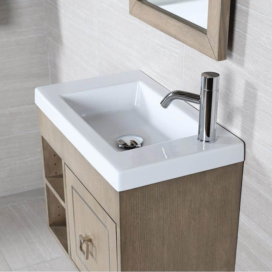 Lacava Wall-mount, vanity top or self-rimming porcelain Bathroom Sink with an overflow. No faucet holes. W: 23 3/4'', D: 13 3/4'', H: 5 1/2''.