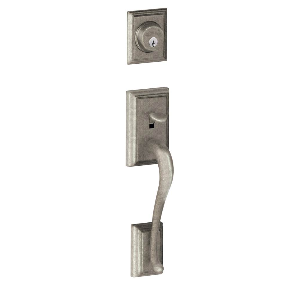 Schlage Addison Exterior Handleset Grip with Exterior Single Cylinder Deadbolt in Distressed Nickel