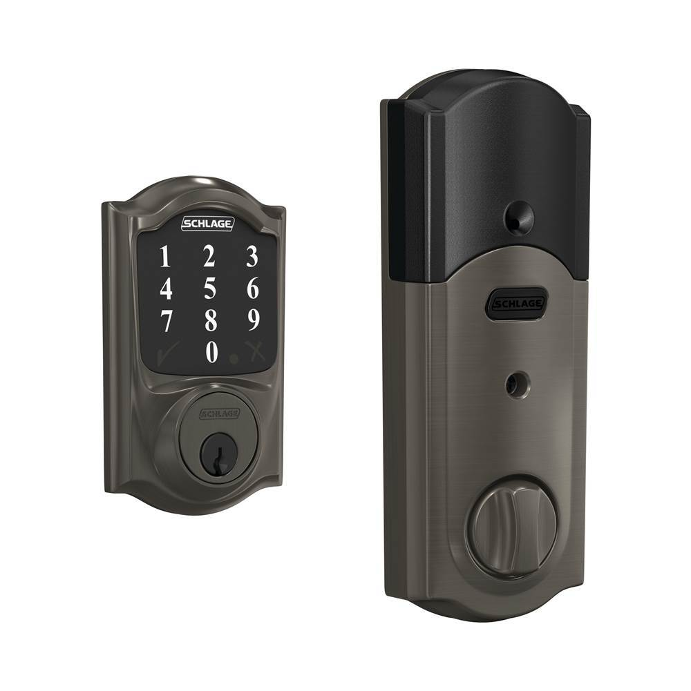 Schlage Connect Smart Deadbolt with Camelot Trim in Black Stainless, Z-Wave Plus Enabled