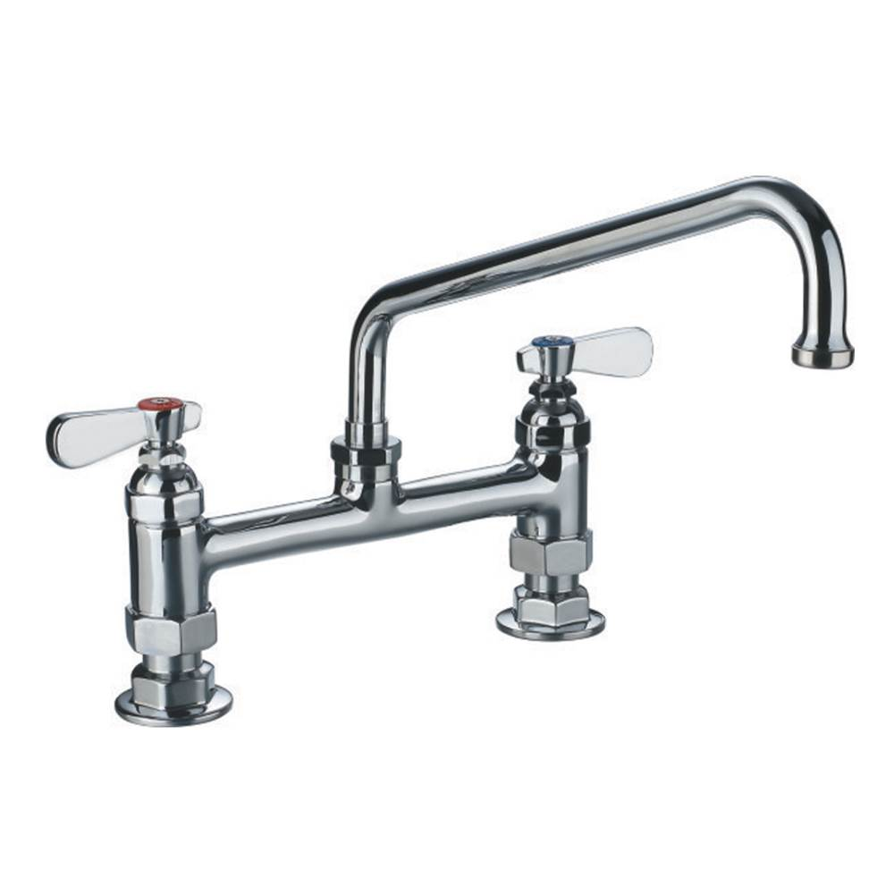 Whitehaus Heavy Duty Utility Bridge Faucet with an Extended Swivel Spout and Lever Handles