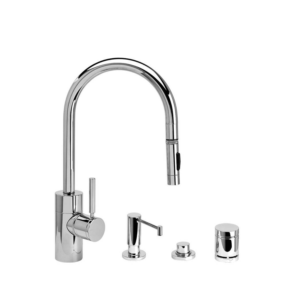 Waterstone Contemporary Plp Pulldown Faucet - Angled Spout - Toggle Sprayer - 4Pc. Suite